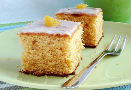 Рецепт Липкий имбирный пирог с лимонной глазурью