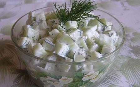 Рецепт Легкий огуречный салат