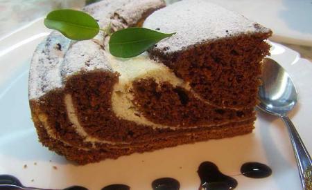 Мраморный шоколадный пирог с творогом (Рецепт для мультиварки)