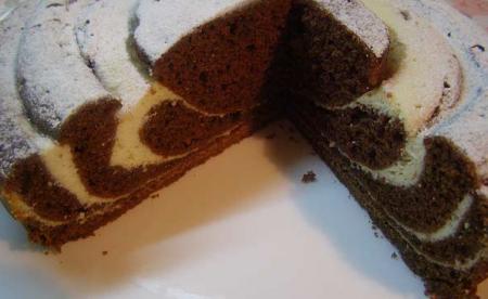 Рецепт Мраморный шоколадный пирог с творогом (Рецепт для мультиварки)