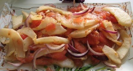 Рецепт Теплый салат из кабачка с помидорами