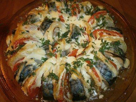 Скумбрия,запеченная с овощами