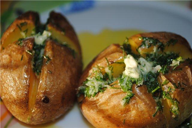 картошка запеченная в мундире в духовке рецепт с фото