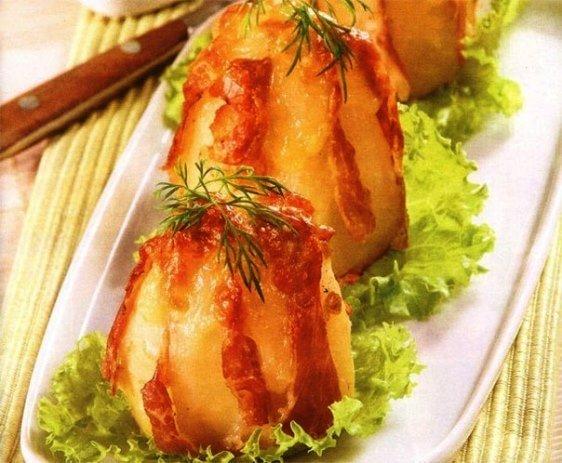 рецепт запеченного картофеля с ветчиной и сыром в фольге