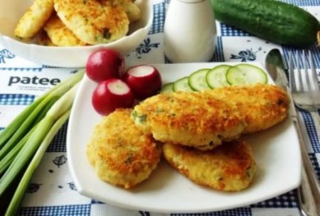 Рыбные котлеты с картофелем