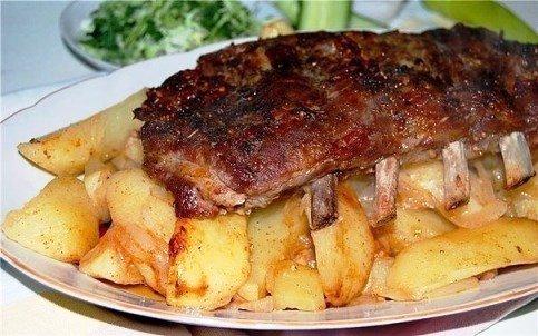 ребрышки свиные с картошкой рецепт с фото в духовке в рукаве