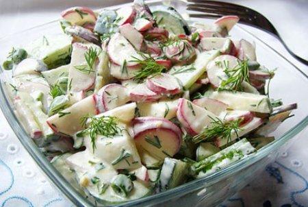 Салат с огурцами, яйцами и редиской