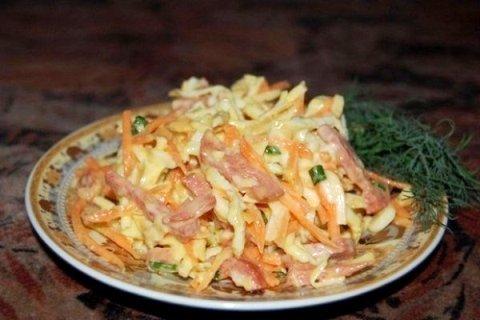 рецепт салата загадка с колбасой