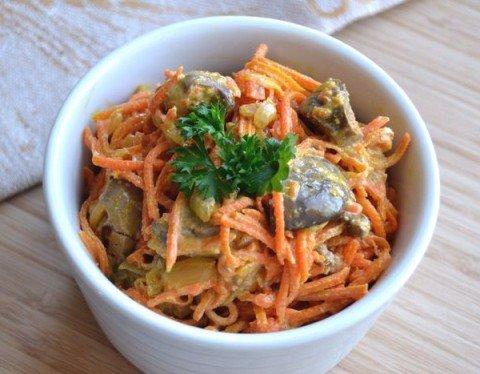салат из моркови и печени куриной