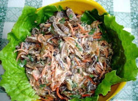 салат мимоза с говяжьей печенью