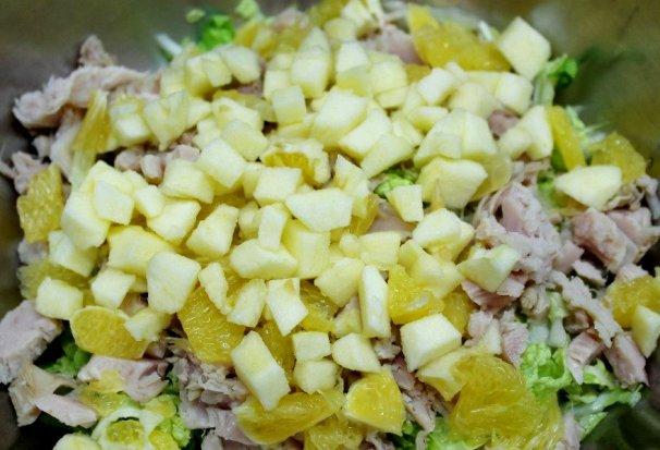 Салат с курицей апельсином и яблоком ♨