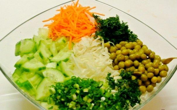 Салат из капусты с зеленым горошком ♨