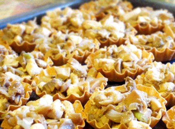 Тарталетки с курицей, грибами и сыром ♨